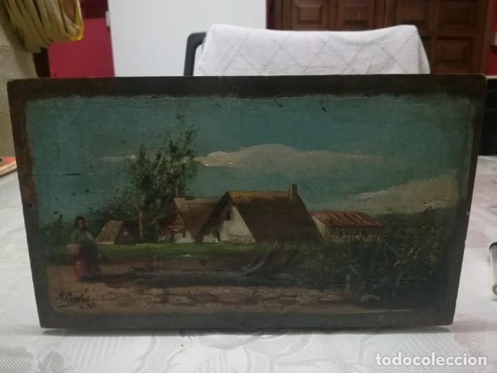 ANTIGUO ÓLEO SOBRE TABLEX FIRMADA MIREN FOTOS (Arte - Pintura - Pintura al Óleo Contemporánea )