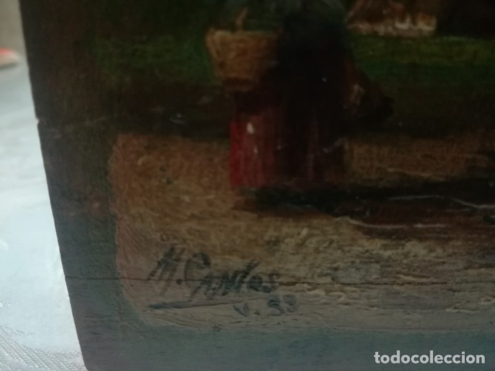 Arte: ANTIGUO ÓLEO SOBRE TABLEX FIRMADA MIREN FOTOS - Foto 2 - 180138283