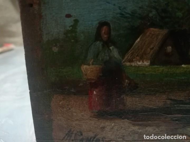 Arte: ANTIGUO ÓLEO SOBRE TABLEX FIRMADA MIREN FOTOS - Foto 6 - 180138283