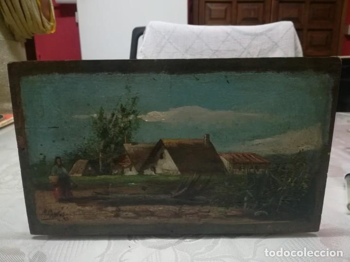 Arte: ANTIGUO ÓLEO SOBRE TABLEX FIRMADA MIREN FOTOS - Foto 9 - 180138283