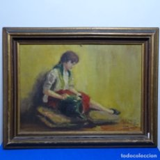 Arte: ÓLEO SOBRE TABLEX DE JOAN TARRA ARAN DE 1954.DEDICADO.. Lote 180144208