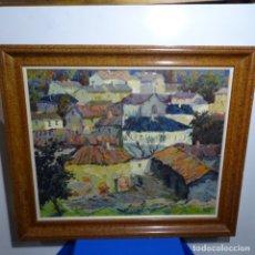 """Arte: GRAN ÓLEO SOBRE TELA DE JOAN SALLENT I TATJER(NAVARCLES 1926).""""LAS OMAÑAS 1972"""" LEON.EXCELENTE OBRA.. Lote 180208140"""