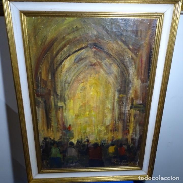 GRAN ÓLEO DE JOAN ANTONI VALLS I TRULLAS(BCN 1923).SERMON EN LA IGLESIA. (Arte - Pintura - Pintura al Óleo Contemporánea )