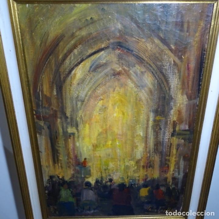 Arte: Gran óleo de Joan Antoni valls i trullas(bcn 1923).sermon en la iglesia. - Foto 2 - 180208380