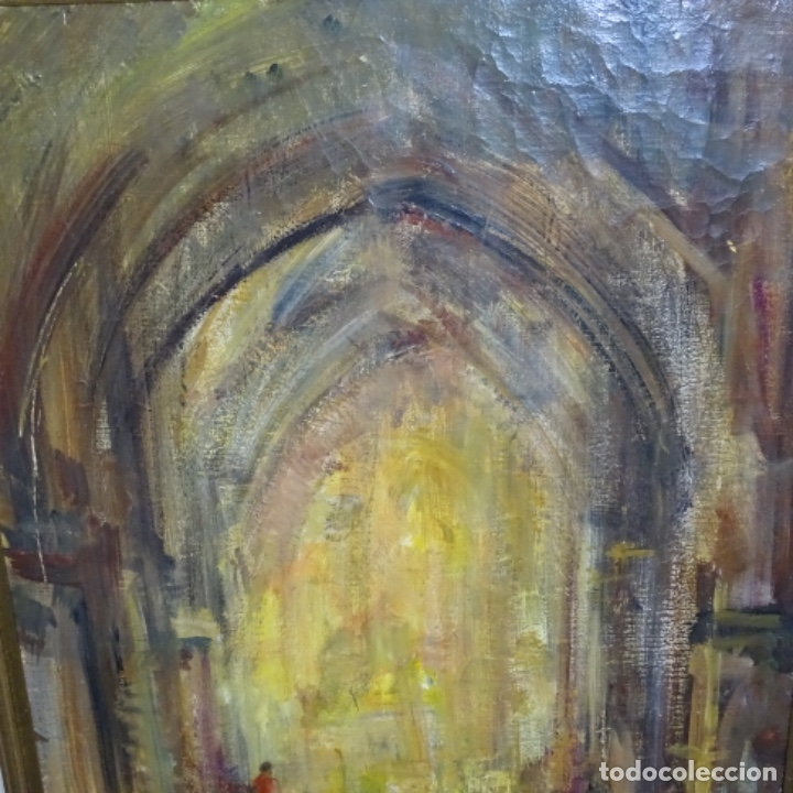 Arte: Gran óleo de Joan Antoni valls i trullas(bcn 1923).sermon en la iglesia. - Foto 3 - 180208380