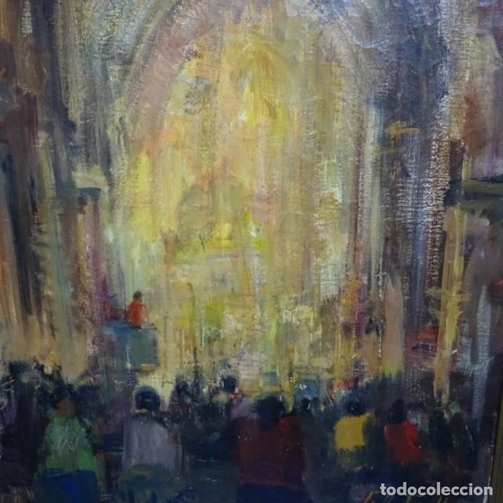 Arte: Gran óleo de Joan Antoni valls i trullas(bcn 1923).sermon en la iglesia. - Foto 4 - 180208380