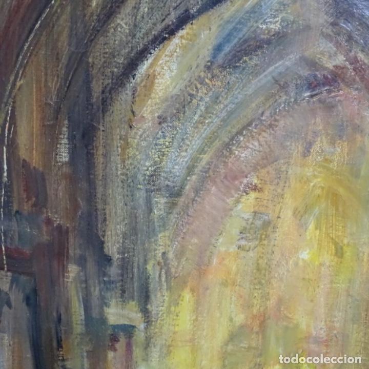 Arte: Gran óleo de Joan Antoni valls i trullas(bcn 1923).sermon en la iglesia. - Foto 5 - 180208380