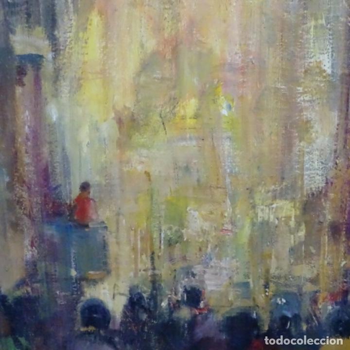 Arte: Gran óleo de Joan Antoni valls i trullas(bcn 1923).sermon en la iglesia. - Foto 6 - 180208380