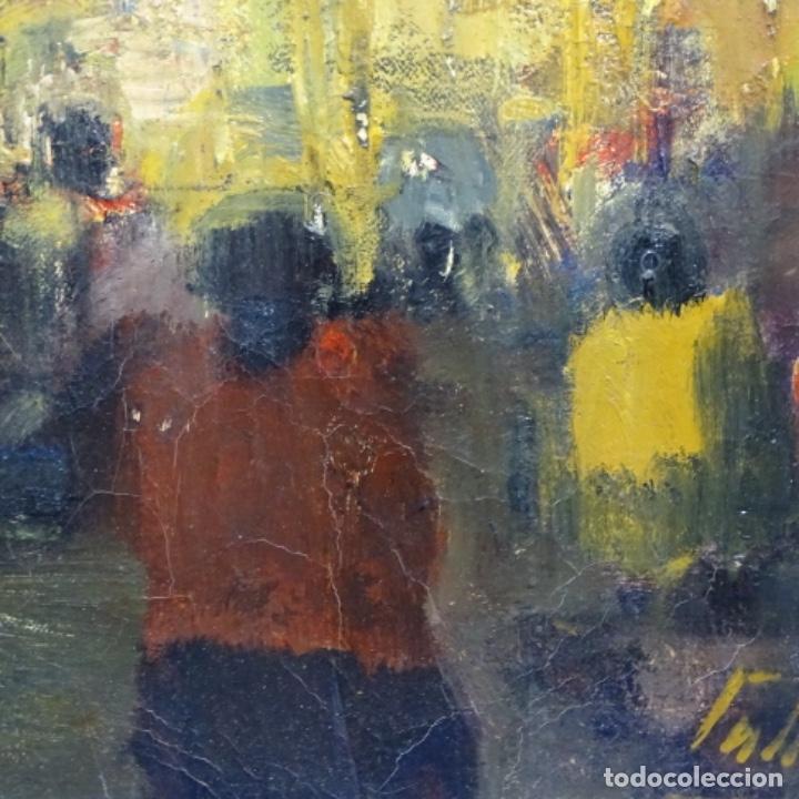 Arte: Gran óleo de Joan Antoni valls i trullas(bcn 1923).sermon en la iglesia. - Foto 8 - 180208380