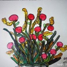 Arte: DIBUJO SOBRE CARTULINA - 50 X 69,5 - FLORES - SERRAVIT. Lote 180225611
