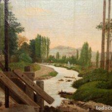 Arte: NESTOR HERNANDEZ (CARACAS, 1832 - 1909) OLEO SOBRE TELA Y ADHERIDA A TABLA. PAISAJE CON LAVANDERAS. Lote 180279068