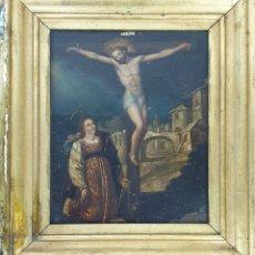 Arte: CRUCIFIXIÓN DE CRISTO. ÓLEO SOBRE COBRE. ANÓNIMO. SIGLO XVIII. . Lote 180320797