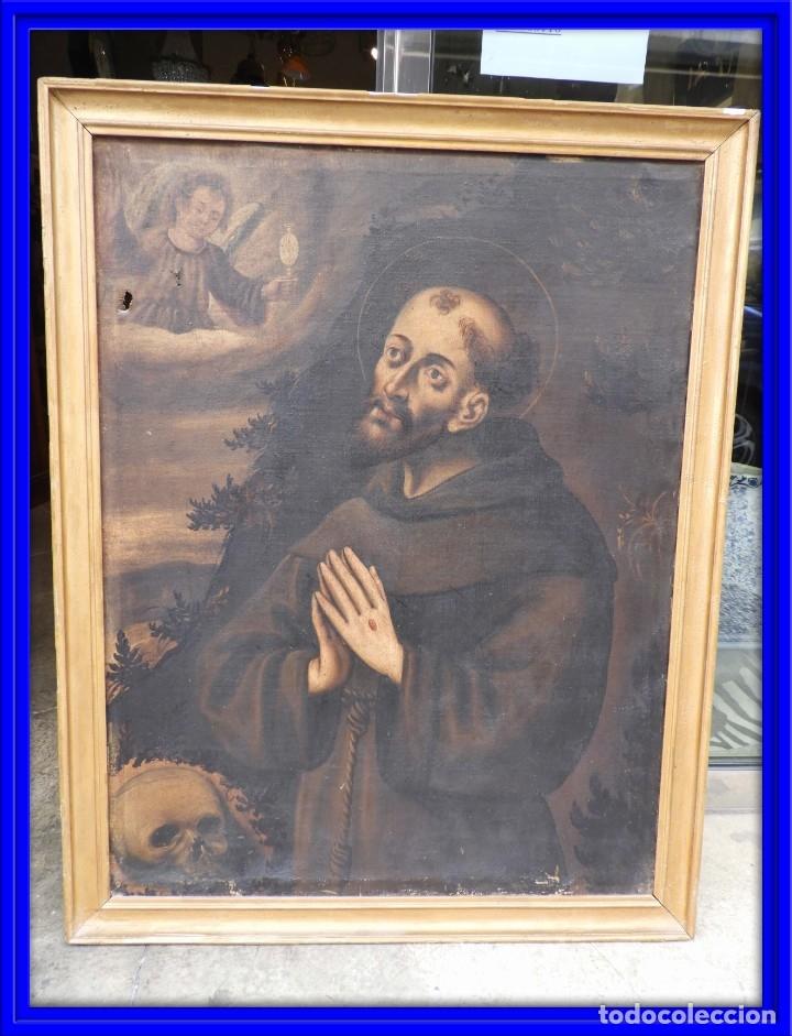 CUADRO ANTIGUO DE SAN ANTONIO SOBRE LIENZO. S. XVIII (Arte - Pintura - Pintura al Óleo Antigua siglo XVIII)