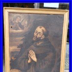 Arte: CUADRO ANTIGUO DE SAN ANTONIO SOBRE LIENZO. S. XVIII. Lote 180399963