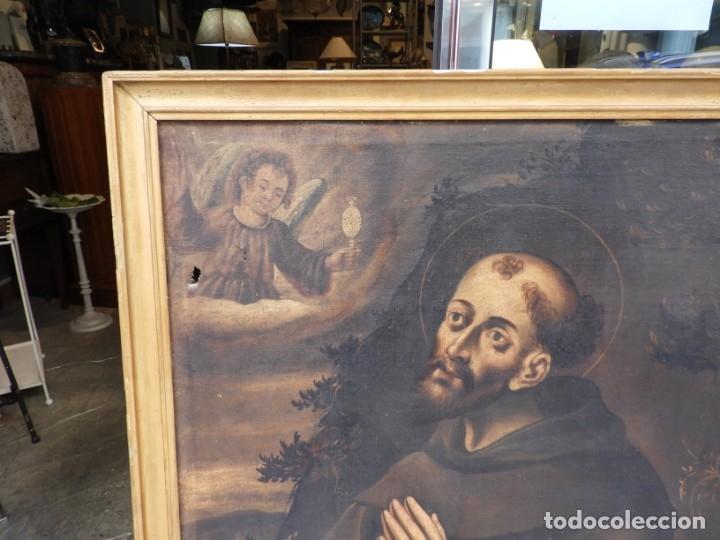 Arte: CUADRO ANTIGUO DE SAN ANTONIO SOBRE LIENZO. S. XVIII - Foto 3 - 180399963