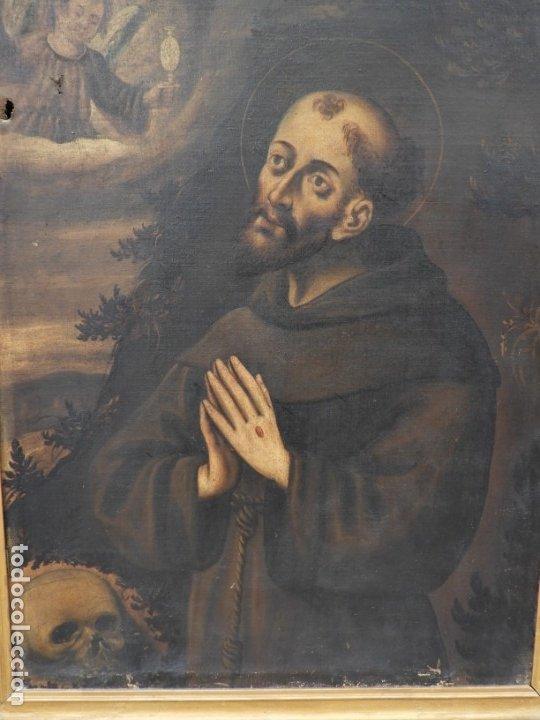 Arte: CUADRO ANTIGUO DE SAN ANTONIO SOBRE LIENZO. S. XVIII - Foto 7 - 180399963