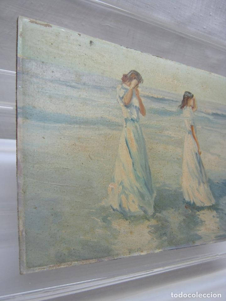 Arte: Interesante y bella pintura antigua firmada - oleo escuela Sorolla - luz mediterranea Valencia - Foto 2 - 180417401