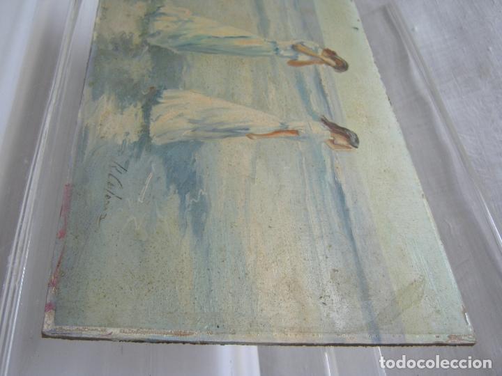 Arte: Interesante y bella pintura antigua firmada - oleo escuela Sorolla - luz mediterranea Valencia - Foto 3 - 180417401