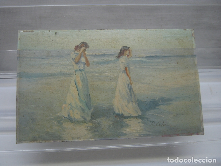 INTERESANTE Y BELLA PINTURA ANTIGUA FIRMADA - OLEO ESCUELA SOROLLA - LUZ MEDITERRANEA VALENCIA (Arte - Pintura - Pintura al Óleo Moderna sin fecha definida)