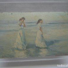 Arte: INTERESANTE Y BELLA PINTURA ANTIGUA FIRMADA - OLEO ESCUELA SOROLLA - LUZ MEDITERRANEA VALENCIA. Lote 180417401