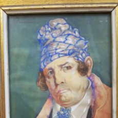 Arte: VICENTE BENEDITO ,ALCALDE DE PUEBLO ,GOUACHE SOBRE PAPEL (23 X 18) ,1918. Lote 180462657