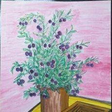 Arte: DIBUJO SOBRE CARTULINA - 63,5 X 45,5 - JARRON CON FLORES - SANTY 1992. Lote 180463271