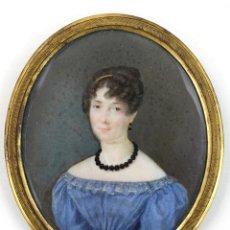 Arte: PIERRE LOUIS BOUVIER (1765 - 1836), MINIATURA, DAMA, SIGLO XIX, FIRMADA, CON MARCO. VER FOTOS.. Lote 180854115