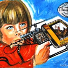 Arte: CUADRO SERIE JUGUETES MADELMAN ILUSTRACIÓN NIÑO CAJA HELICOPTERO 2 ÓLEO SOBRE TABLA 60 X 40 CMS. Lote 180858047