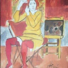 Arte: JORDI CUROS FIGURA ACUARELA. Lote 180875253