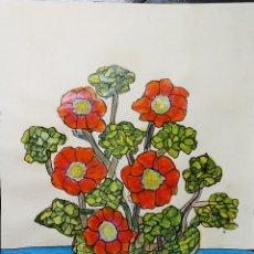 Arte: DIBUJO SOBRE CARTULINA - 69,5 X 49,5 - FLORERO - SANTY 2006. Lote 180936373