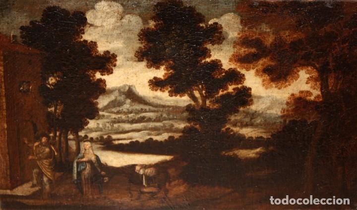 ESCUELA ESPAÑOLA DEL SIGLO XVIII. OLEO SOBRE TELA. LA HUIDA A EGIPTO (Arte - Pintura - Pintura al Óleo Antigua siglo XVIII)