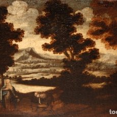 Arte: ESCUELA ESPAÑOLA DEL SIGLO XVIII. OLEO SOBRE TELA. LA HUIDA A EGIPTO. Lote 180948337