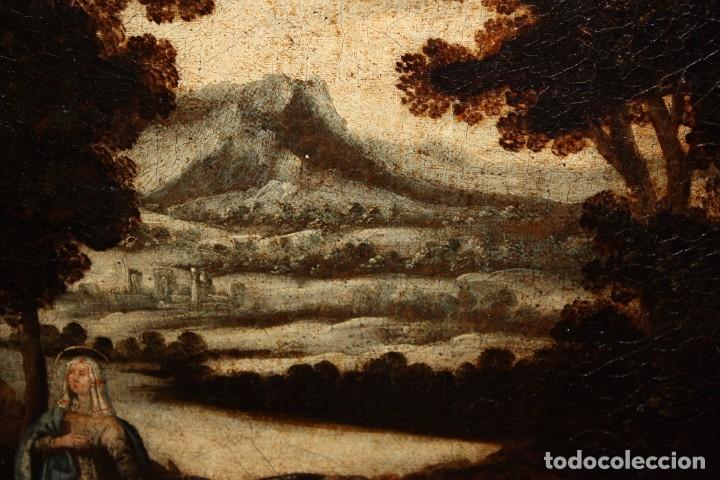 Arte: ESCUELA ESPAÑOLA DEL SIGLO XVIII. OLEO SOBRE TELA. LA HUIDA A EGIPTO - Foto 4 - 180948337
