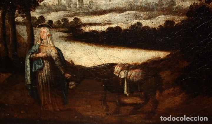Arte: ESCUELA ESPAÑOLA DEL SIGLO XVIII. OLEO SOBRE TELA. LA HUIDA A EGIPTO - Foto 5 - 180948337