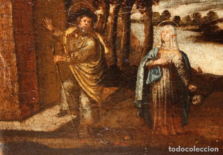 Arte: ESCUELA ESPAÑOLA DEL SIGLO XVIII. OLEO SOBRE TELA. LA HUIDA A EGIPTO - Foto 6 - 180948337