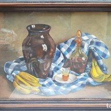 Arte: BODEGON FRUTAS CON JARRON ,FIRMADO HERNANDEZ CABEZA. Lote 180954746