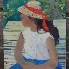 Arte: PERE GUSSINYÉ (1890 - 1980), NIÑA CON SOMBRERO, PINTURA AL ÓLEO SOBRE TELA. 61X50CM. Lote 181015261