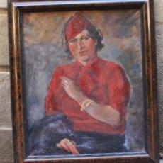 Arte: ENRIC PINET PÀMIES (1912 - 1974), MILICIANA, MUJER DE ROJO, 1936, ÓLEO SOBRE TELA, CON MARCO.. Lote 181016822