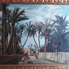 Arte: ANTIGUO OLEO SOBRE TAPIZ PAISAJE PALMERAS CIRCA 1900. Lote 181073180