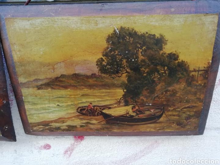 Arte: Pareja de tablas pintadas al óleo - Foto 3 - 181122827