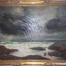 Arte: ANTIGUO OLEO SOBRE LIENZO PAISAJE MARINO PESCADORES PARA RESTAURAR . Lote 181124350
