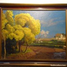 Arte: OLEO SOBRE TABLA DE LLUÍS MASRIERA I ROSES(BCN 1872-1958).DEDICADO A J. VILLA.FECHADO EN 1953.. Lote 181127272