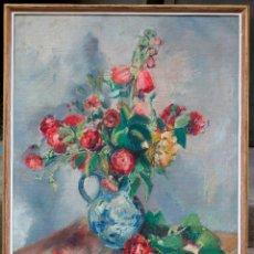 Arte: DOMÈNEC CARLES ROSICH, JARRÓN CON FLORES, 1923, PINTURA AL ÓLEO SOBRE TELA, CON MARCO. 80X63,5CM. Lote 181343511