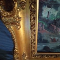 Arte: ANTIGUO MARCO DE MUSEO EN MADERA MACIZA DORADO (85X72) CON OLEO PAISAJE. Lote 181401975