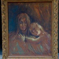Arte: MUJER Y NIÑA, PINTURA AL ÓLEO SOBRE TELA, FIRMADO LL. VAYREDA, CON MARCO. 65,5X52CM. Lote 181461783