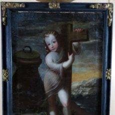 Arte: NIÑO JESÚS DE LA PASIÓN ÓLEO SOBRE LIENZO ESCUELA ESPAÑOLA SIGLO XVII CON MARCO TAMBIÉN SIGLO XVII. Lote 181558635
