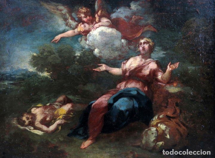 Arte: Diana y Endimión óleo sobre lienzo escuela italiana del siglo XVII - Foto 2 - 181563355
