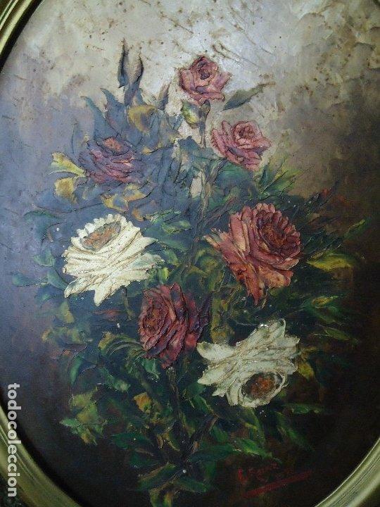 Arte: magnifico oleo sobre tabla FLORES firmado E. REIRIZ 1972 ovalado enmarcado mide 72x57cm. marco oro - Foto 2 - 181613496