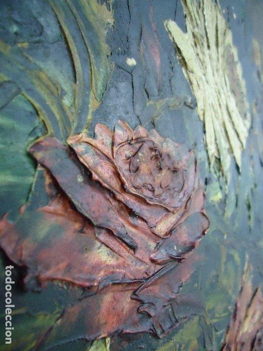 Arte: magnifico oleo sobre tabla FLORES firmado E. REIRIZ 1972 ovalado enmarcado mide 72x57cm. marco oro - Foto 3 - 181613496
