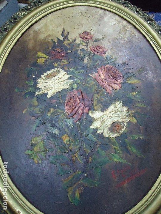 Arte: magnifico oleo sobre tabla FLORES firmado E. REIRIZ 1972 ovalado enmarcado mide 72x57cm. marco oro - Foto 6 - 181613496